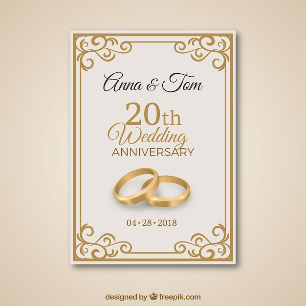 Wedding Anniversary Card With Golden Ornaments Free Vector