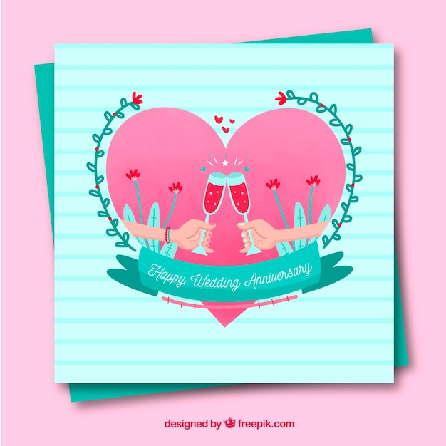 Wedding anniversary card with heart in flat style vector free download wedding anniversary card with heart in flat style free vector m4hsunfo