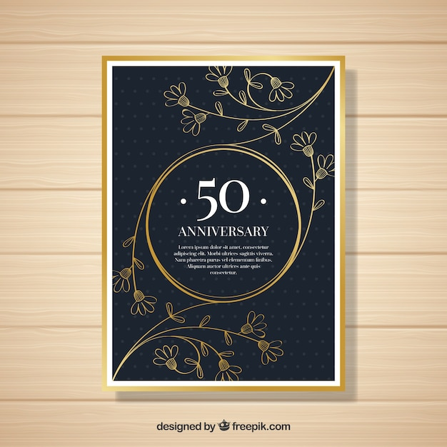 Wedding anniversary card with ornaments in golden style Free Vector