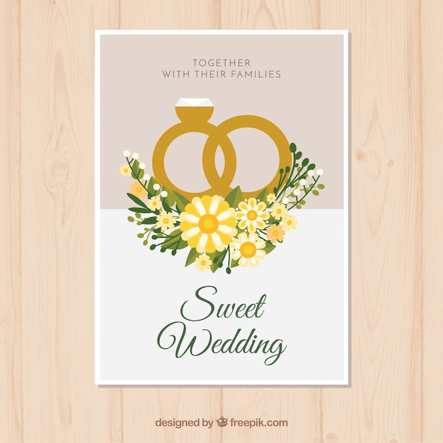 Wedding Anniversary Card With Rings In Flat Style Free Vector