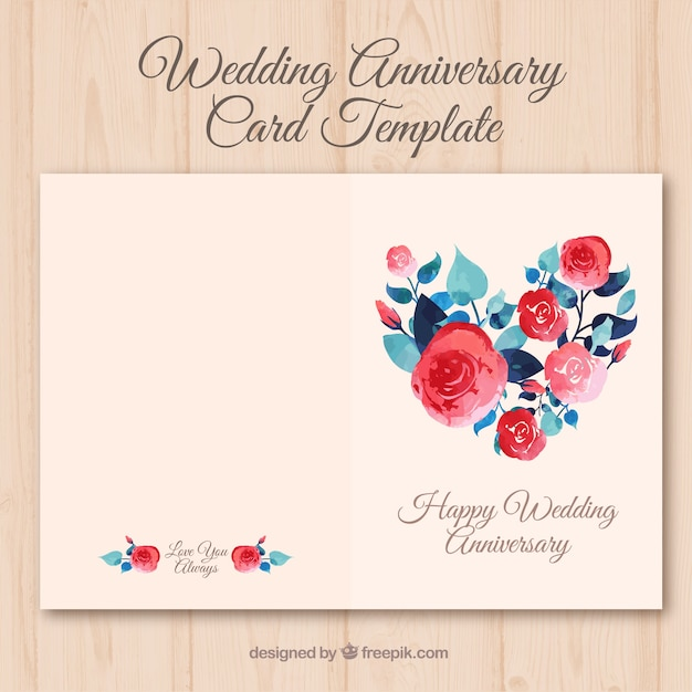 Wedding Anniversary Card With Watercolor Flowers Vector  Free Download