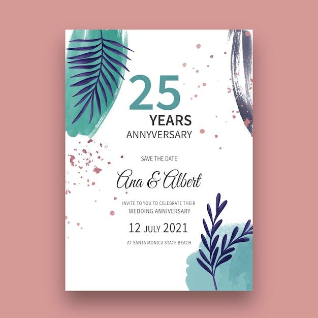Открытка на годовщину свадьбы Бесплатные векторы