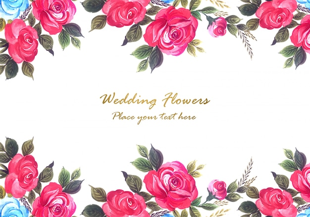 Wedding anniversary colorful flowers frame background Free Vector