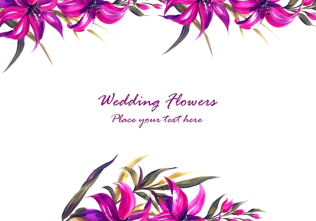 Wedding anniversary decorative floral frame for greeting card Free Vector