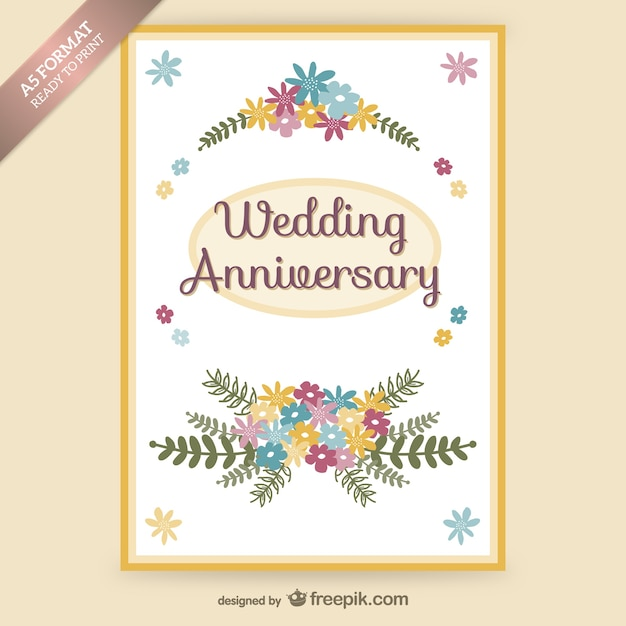 Wedding Anniversary Floral Card Vector Free Download