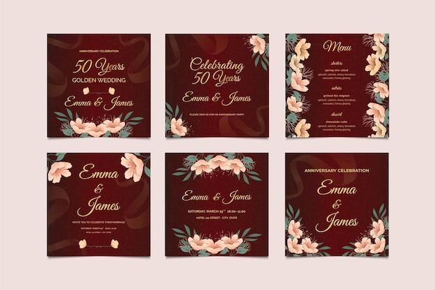 Коллекция постов в instagram на годовщину свадьбы Бесплатные векторы