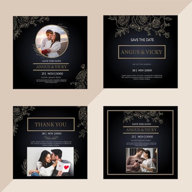 Посты в instagram с годовщиной свадьбы Premium векторы