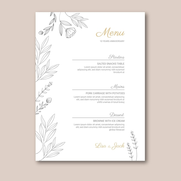 Wedding anniversary menu template Free Vector