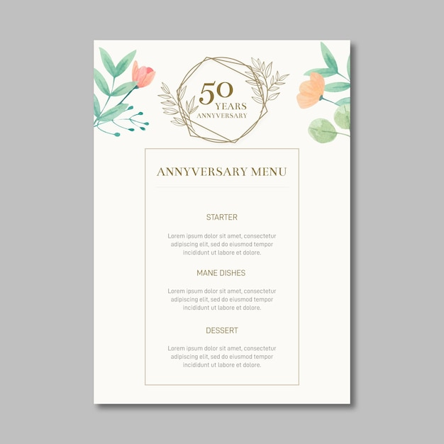 Menu anniversario di matrimonio Vettore gratuito