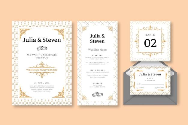 Коллекция канцелярских товаров на годовщину свадьбы Бесплатные векторы
