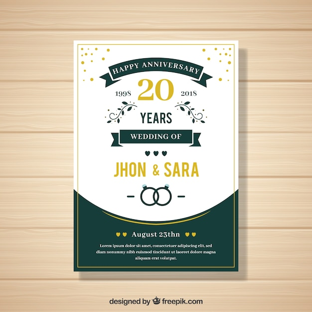 Wedding anniversaty card in flat style Free Vector