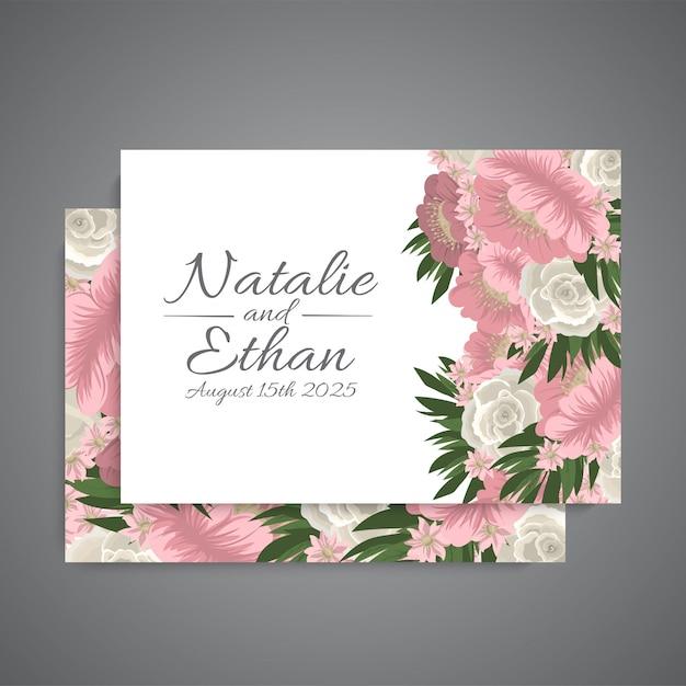 Wedding background - pink flowers Free Vector