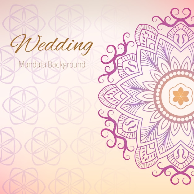 Wedding Background With Mandala Design Vector Free Download