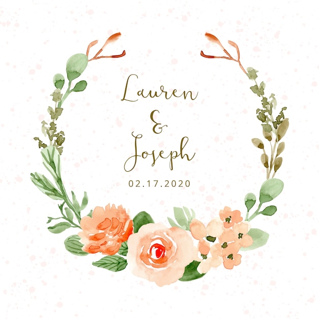 Wedding badge with pretty flower watercolor wreath Premium Vector