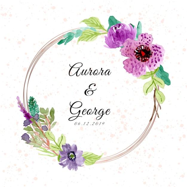 Свадебный значок с фиолетовой цветочной акварелью Premium векторы