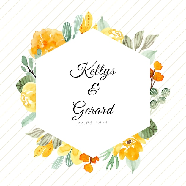 Wedding badge with watercolor floral frame Premium Vector