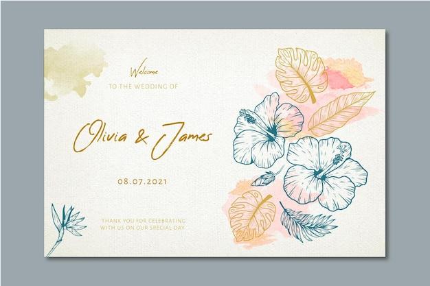 花の装飾品で結婚式のバナー 無料ベクター