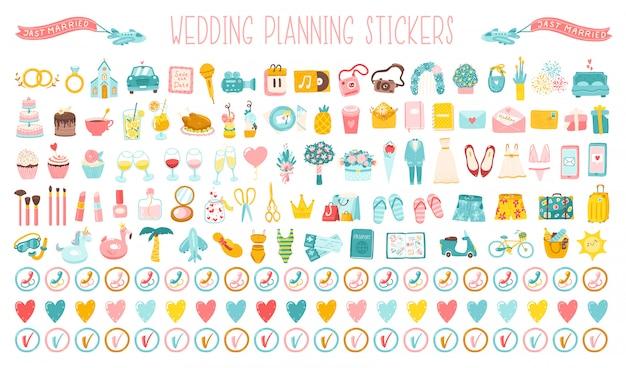 結婚式漫画の手描きアイコン、休日を計画するためのステッカーの大きなセット。ウェディングドレス、コスチューム、花、お祝いの組織全体のかわいいシンプルなイラスト Premiumベクター