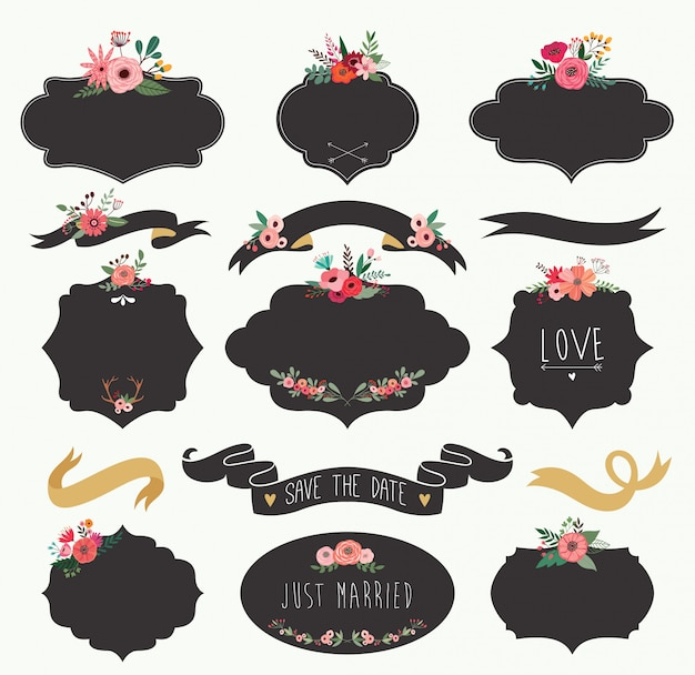 Wedding black labels collection with flowers and ribbons. Premium Vector