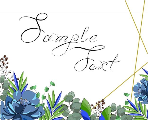 Wedding blue floral style double invite Premium Vector