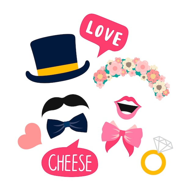 Wedding booth props for woman and man vector Free Vector