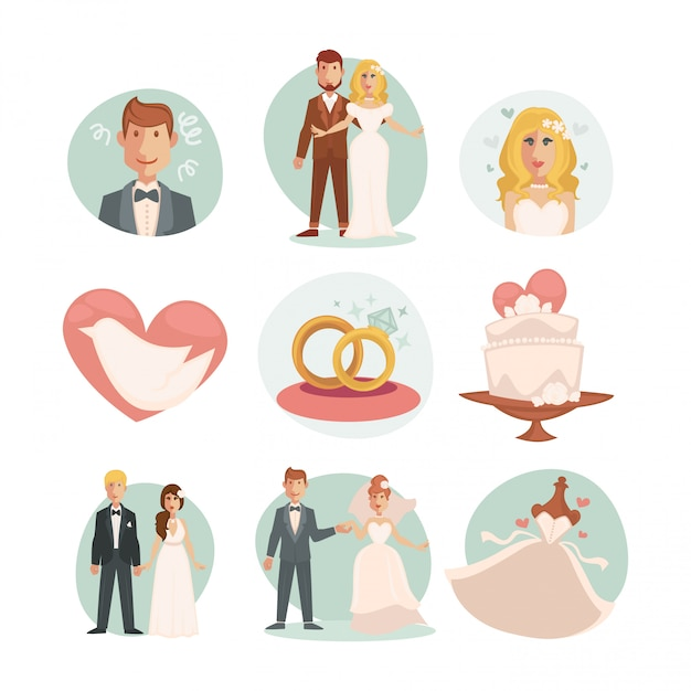 Wedding bride and groom. vector wedding illustrations Premium Vector