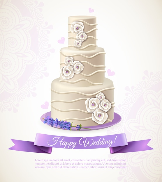 Wedding cake illustration Free Vector