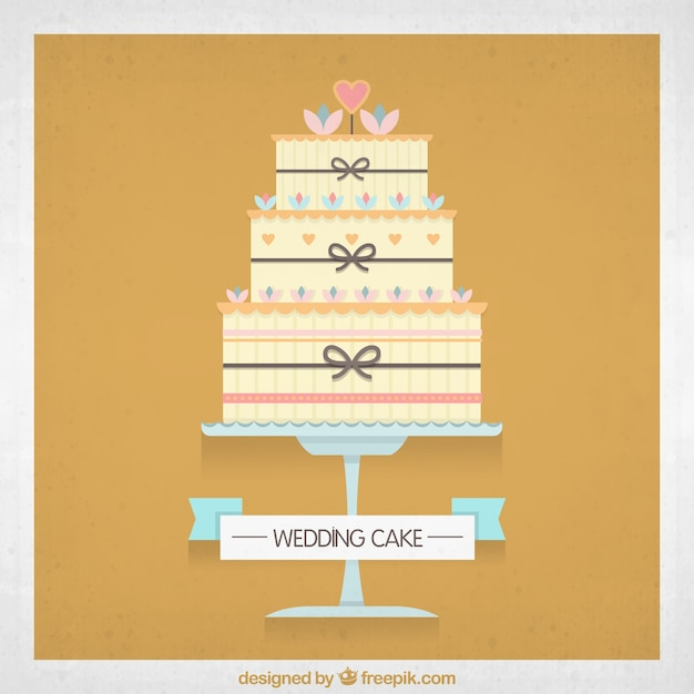 Wedding cake with Heart Vector   Free Download