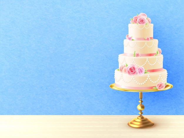 Wedding cake with roses realistic illustration Free Vector
