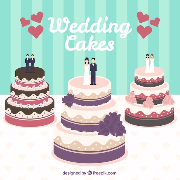 Free Vector Wedding Cakes Illustration