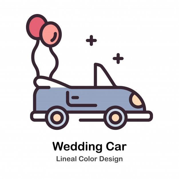 Wedding Car Lineal Color Illustration Premium Vector