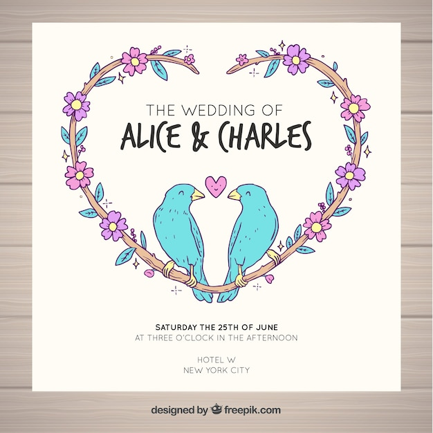 wedding card birds design vector free download