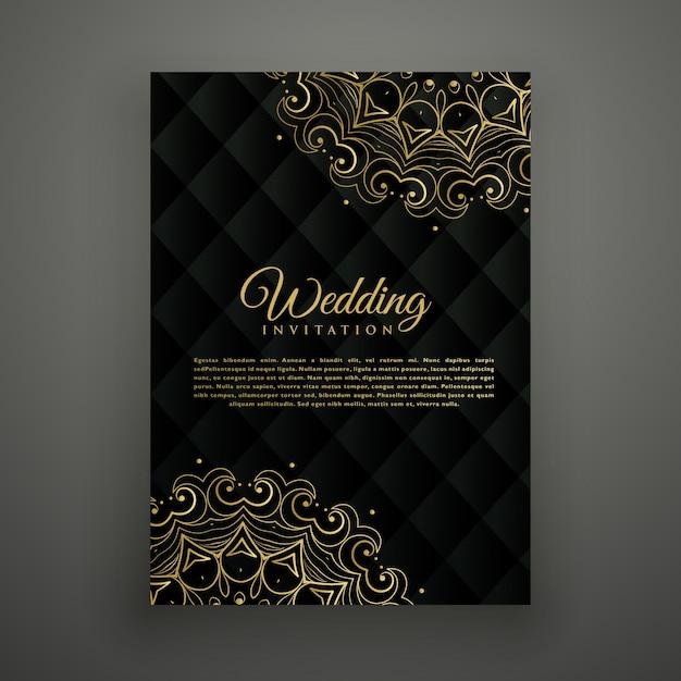Дизайн свадебной открытки в стиле мандалы Premium векторы
