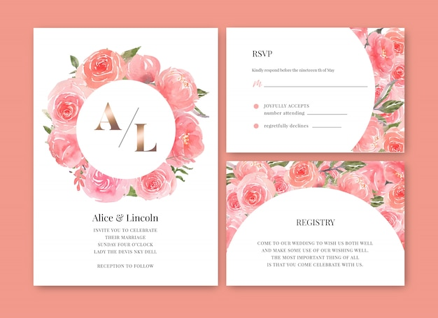 Wedding card flower watercolor, thanks card, invitation marriage illustration Free Vector