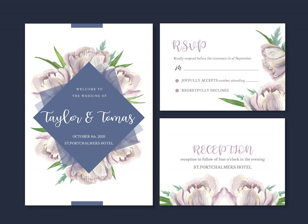 Wedding card flower watercolor, thanks card, invitation marriage Free Vector