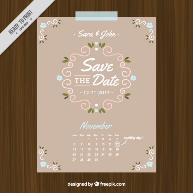 Wedding card in vintage style with calendar Free Vector