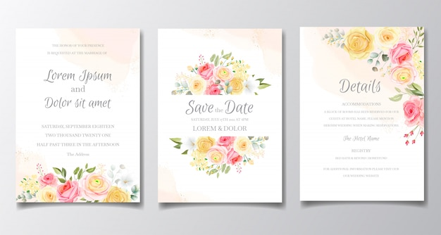Wedding card and invitation card with beautiful roses template Premium Vector