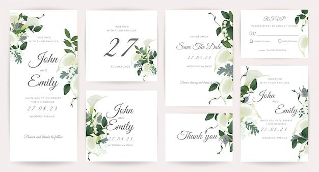 Wedding card invitation template collection Premium Vector
