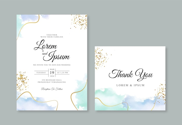 Wedding card invitation template with gold line and hand painted watercolor spalsh Premium Vector