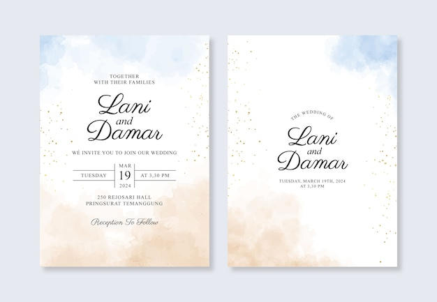 Wedding card invitation template with hand painted watercolor splash Premium Vector