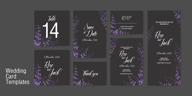 Wedding card invitation template Premium Vector