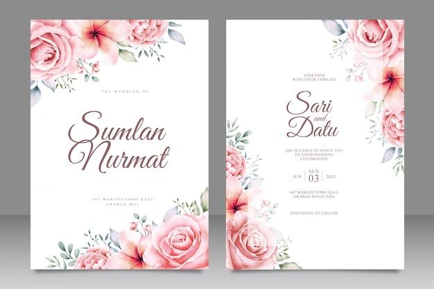 Wedding card invitation with beautiful flowers garden Premium Vector