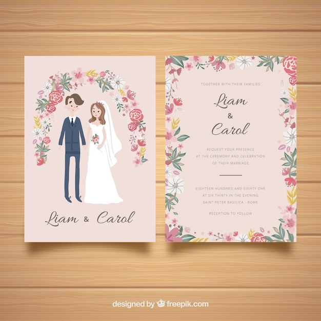 Wedding card invitation with couple and flowers Vector Free Download