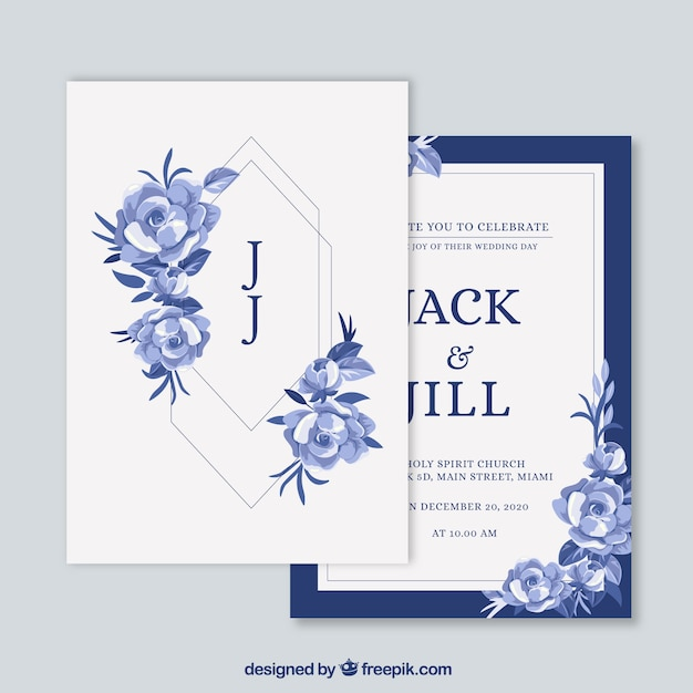 Wedding card invitation with floral ornaments Free Vector