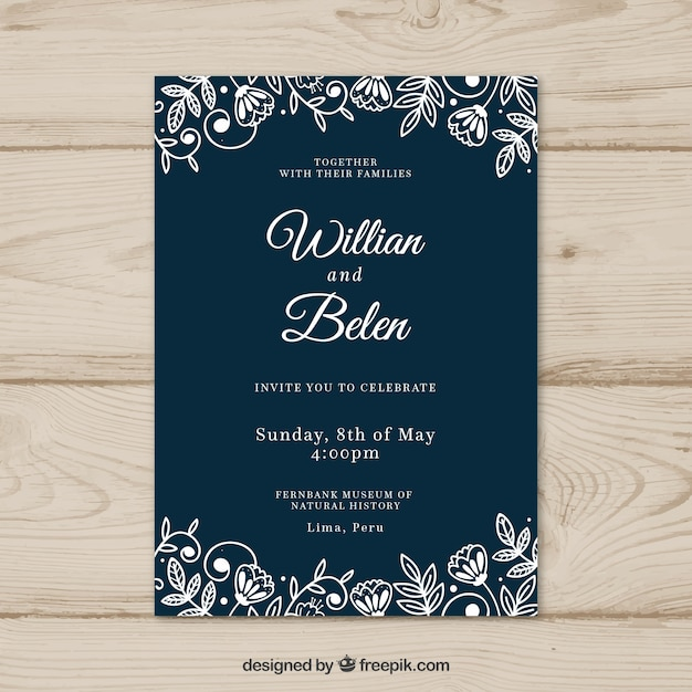 Wedding Card Invitation With Flowers Vector