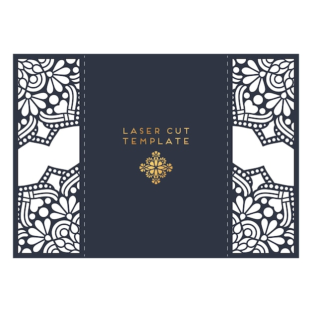 Wedding card laser cut template. Vintage decorative elements Vector ...