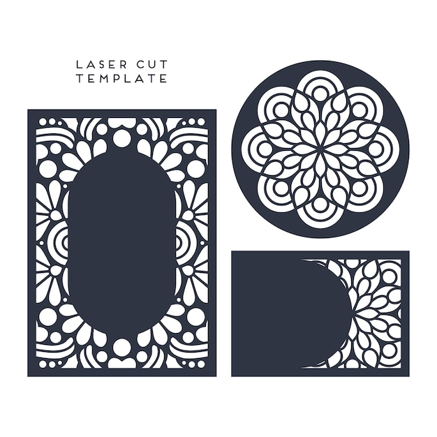 wedding card laser cut template Free Vector