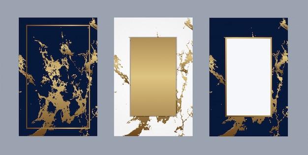 ウェディングカードの大理石の豪華な金の背景のベクトル Premiumベクター