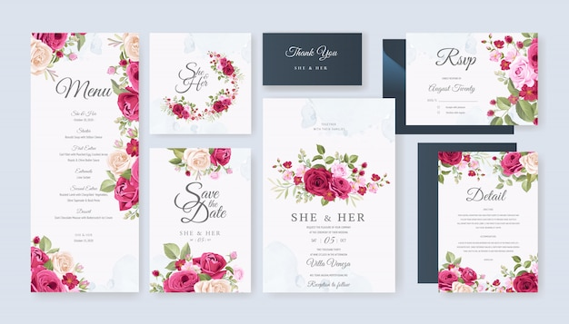 Wedding card set template with beautiful floral and leaves Premium Vector