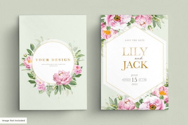 美しい花と葉がセットされたウェディングカード 無料ベクター